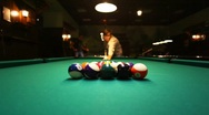 Stock Video Footage of man in billiards shoots at balls