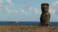 A ship off the coast of Easter Island. Stock Footage