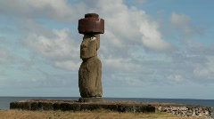 A time lapse of clouds moving behind an Easter Island statue. Stock Footage