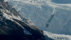 Glaciers carve out a deep valley in the Andes mountains, Patagonia. - stock footage