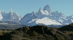The remarkable mountain range of Fitzroy in Patagonia, Argentina. Stock Footage