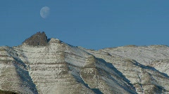 A full moon rises over the Andes mountains in Patagonia. - stock footage