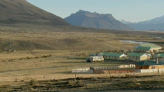 Stock Video Footage of Pan across a large farm in a remote region of Patagonia,