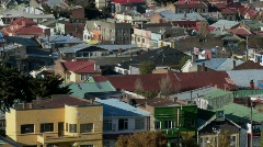 Rooftops in the Chilean town of Punta Arenas. Stock Footage