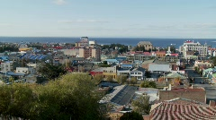 A panning shot over downtown Punta Arenas in the Southern Stock Footage