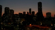 Stock Video Footage of The Houston skyline just after sunset.
