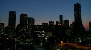 Stock Video Footage of The Houston skyline at dusk.