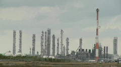 Fire burns at an oil refinery. Stock Footage