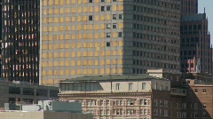 The skyline of Houston Texas skyscraper shows some damage Stock Footage