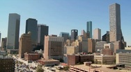 Stock Video Footage of The Houston skyline on a bright sunny day.