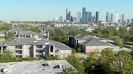 Stock Video Footage of A suburban area of Houston with the downtown distant.