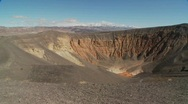 Stock Video Footage of Pan across a volcanic crater in Death Valley National Park.