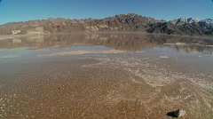 A pan across a lake of badwater in Death Valley National Park. Stock Footage