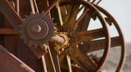 Old cogwheels rust in the sun at an abandoned mine. Stock Footage