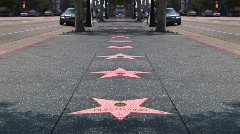 Stars line the Hollywood Walk of Fame. Stock Footage