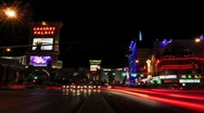 Stock Video Footage of A time lapse of pedestrians and vehicles near hotel casinos