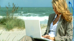 Businesswoman on the Beach Stock Footage