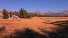 Tuolumne Meadows extends towards the mountains at Yosemite Stock Footage