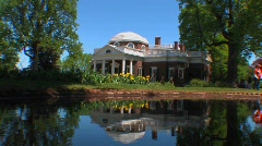 Stock Video Footage of The Monticello home of Thomas Jefferson reflects on the