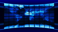Stock Video Footage of World Map of media screens.