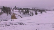 Yellowstone Lodge is in the distance of this dead of winter Stock Footage