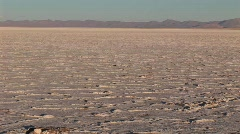 Salt Flat in Alto Plano Argentina with distant mountains Stock Footage