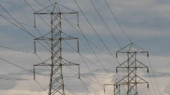 Electrical wires are held up by towers. Stock Footage