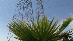 Electrical wires are held up by towers. - stock footage