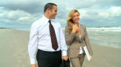 Business on the Beach Stock Footage