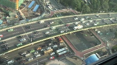 Overhead picture of sped up traffic on an overpass in Shanghai, China. Stock Footage
