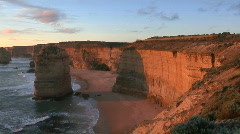 The Twelve Apostles rock formation stands out on the Coast Stock Footage