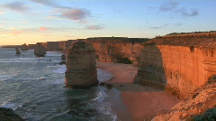 Stock Video Footage of Rock formations known as the Twelve Apostles stand out on