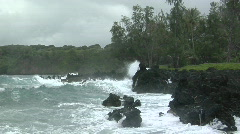 A large Pacific storm batters Hawaii with large waves. - stock footage