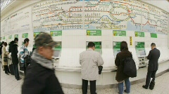 Passengers purchase JR subway tickets in Ueno Station, Tokyo, Japan. Stock Footage