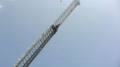 Fairborn Firetruck with Ladder Raised - stock footage