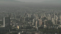 Pan across the smog filled city of Santiago, Chile. - stock footage
