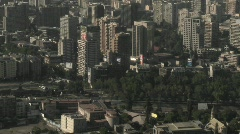 Pan across the smog filled city of Santiago, Chile. Stock Footage