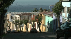 A colorful city street overlooking the ocean in Valparaiso, Chile. Stock Footage