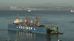 A floating dry dock in the harbor at Valparaiso, Chile. Stock Footage