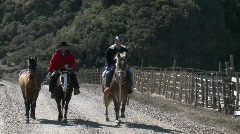 Chilean cowboys on the road near Buchupureo, Chile Stock Footage