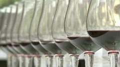 Rack focus on a row of wine glasses. Stock Footage
