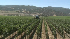 Machine pruning a Monterey County vineyard, California - stock footage