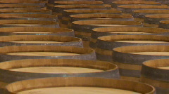 Wine barrels in a Santa Barbara County winery, California. Stock Footage