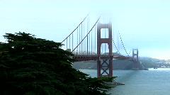 The Golden Gate Bridge graces the San Francisco bay skyline. Stock Footage