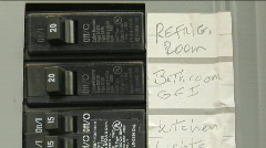 A breaker box contains orderly labels. Stock Footage