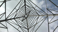 Wires stretch to either side of a utility tower. Stock Footage