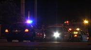 Police and Fire Truck Emergency Lights at Night - 2 Shots Included Stock Footage