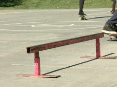 Stock Video Footage of Skater rides the Rail 4 Slomo