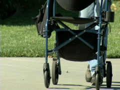 Elderly man with pushcart - stock footage