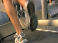 Women on Treadmills - stock footage